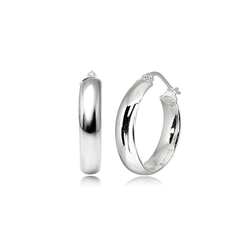 LOVVE Sterling Silver Wide Thick High Polished Half Round-Tube Click-Top Light Hoop Earrings, Choose a Size