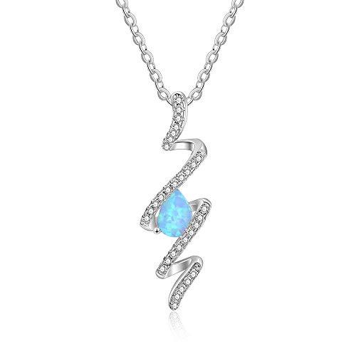 B&H-ERX Collar de plata de ley 925 con ópalo de fuego azul, colgante en espiral de agua, regalo de cumpleaños para mujeres y niñas