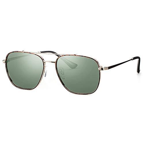 Elegear Gafas Hombre 2020 Gafas de sol Polarizadas Cuadrado, Marco de acero inoxidable, Protección 100% UV400 con increíble mejor color y claridad (Gafas Verde 07)