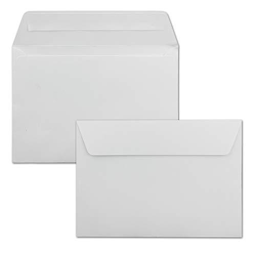 100x Briefumschläge Hochweiß/Kristallweiß DIN C6 Format 11,4 x 16,2 cm - Haftklebung - Kuverts ohne Fenster - Weihnachten, Grußkarten & Einladungen - Für A6 & A4 Papier