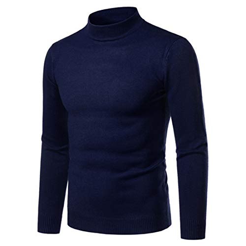 Men Sweater Round Neck Comfortable Pure Color Business Casual Men Tops Autumn and Winter All-Match Warm Fashion Slim Fine Knitted Soft Mens Knit Tops [Navy] XXL