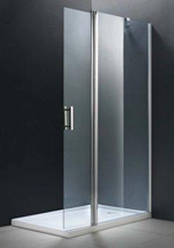 Lateral fijo ducha y puerta abatible. 80+40cm. Cristal transparente. Altura 195cm.
