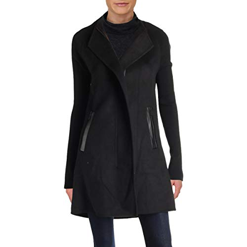 Ivanka Trump Womens Fall Wool Blend Midi Coat Black 14