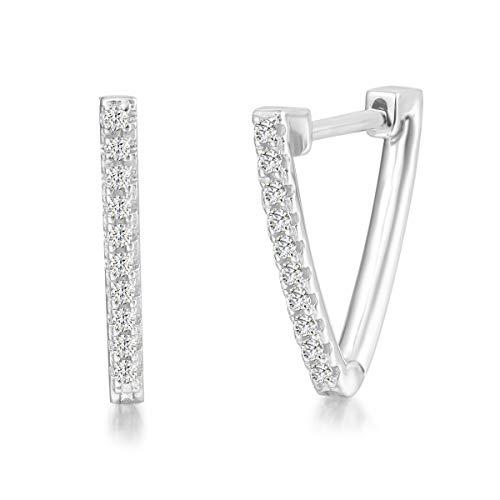 Solide 925 Sterling Silber mit Weiß Gold Plattiert Creolen Ohrringe Klein Dreieck Geometric-Stil mit Funkelnde Zirkonia Geschenk Schmuck für Damen Mädchen Kinder - Größe: 25 * 20mm