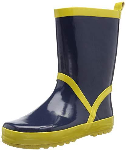 Playshoes Bota de Agua Classic, Botas de Goma de Caucho Natural Unisex niños, Amarillo (Marine/Gelb 413), 24/25 EU