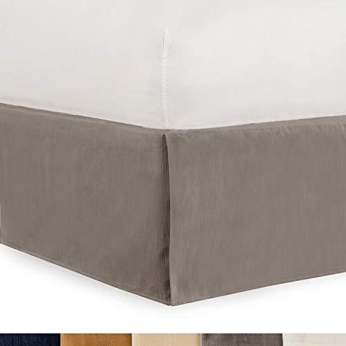 Shop Bedding Tailored Velvet Bed Skirt with Split Corner 18 inch Drop King, Grey Modern Dust Ruffle, High-End
