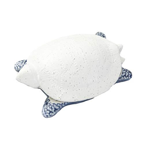 WINOMO Schmucktablett Keramik Schildkröte Figur Tee Süßigkeiten Snack Tablett Kleinigkeiten Halter Schmuckschale Schmuckablage Make Up Kosmetik Organizer Desktop Ornament (Weiß Blau)