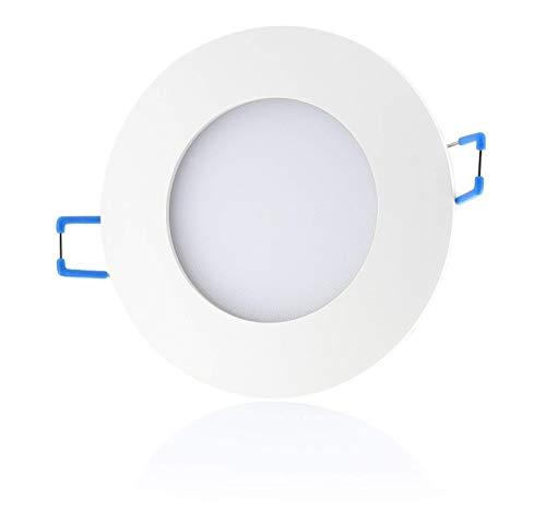 sweet-led 5er IP44 dimmbar 12W 850 Lumen, LED Bad Einbaustrahler, 230V ultra flach warmweiß - kaltweiß, rund Weiß-chrom, Bad Einbauspots Einbaulampen Einbauleuchten (5er Warmweiß-weißfarbig)