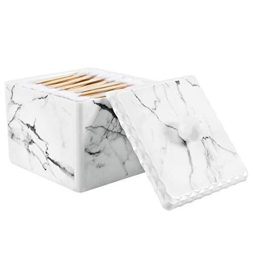 Lewondr Wattestäbchen Aufbewahrungsbox, Q Tips Spender Behälter Box Wasserdicht Kosmetik Aufbewahrungsbox mit Deckel Stabil Abschminkpa Organizer Behälter für Wattestäbchen Halterung, Weißer Marmor