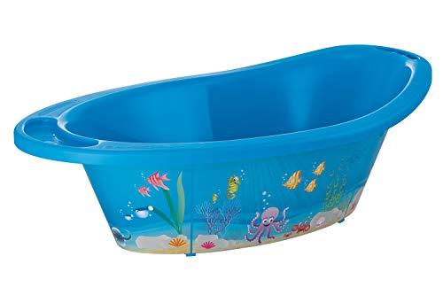 Rotho Babydesign Baignoire Ocean StyLe!, Avec Tapis Antidérapant et Bouchon de Vidange, 0-12 Mois, StyLe!, Bleu, 20211012576