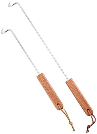 LQLMCOS Long 17 5 and Short 12 5 Food Flipper Turner Hooks Stainless Steel BBQ Meat Hooks Cooking product image