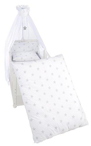 roba Kinder-Bettgarnitur 4-tlg, Babybett-Ausstattung, Bettset 4-teilig: Bettwäsche 100x135 (Decke & Kissen), Nestchen, Himmel