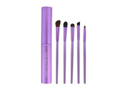 Oeil Brosses Set 5 Pcs Avec Rose Or Noir Rose Violet Bleu Eyeliner Sourcils Ombre À Paupières Cosmétique Brosses Kit Mélange Brosse Maquillage Outils,Purple-5pcs