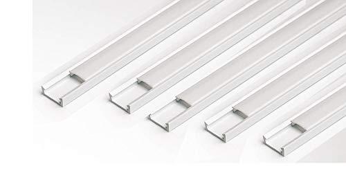 LED-Profilkanal mit milchigem Abdeckprofil, schmal, 16 x 7 mm, für Lichtleisten, PVC-Profil für LED-Leiste, 10 m (5 Stück x 2m) Modern weiß