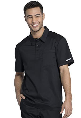 Workwear Revolution Men Scrubs Top Polo WW615, L, Black