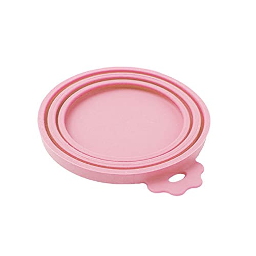 TIATA Pet Food Can Covers - Silicone Can Lids Caps for Dog Cat Wet Food,Universal Size Fit Most Standard Size Canned Dog and Cat Food(Pink)