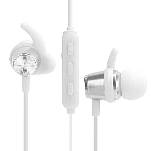 Goshyda Cuffie Sportive, Bluetooth 5.0 Cuffie Wireless Montate sul Collo Cuffie HiFi con Accoppiamento Automatico Magnetico Intelligente, Sistema di Isolamento Acustico Impermeabile IPX5(Bianca)
