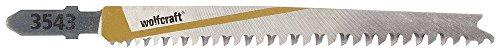 Wolfcraft 3543000 - 2 hojas de sierra de calar vástago en T / HCS / madera blanda, planchas de virutas, tableros de madera estratificada, MDF, vigas de madera / cortes rápidos y limpios 93 mm