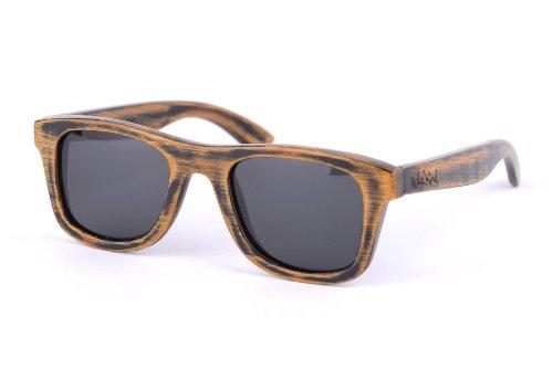 Nebelkind Sonnenbrille aus Holz mit UV-Schutz und Brillenetui aus Bambus im Used Look Unisex Entspiegelt Schwarze Gläser One Size