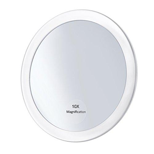 Frcolor 10X Vergrößerungsspiegel Runder Kosmetikspiegel Reisesack Kosmetikspiegel Vergrößerungs-Kompaktspiegel mit 3 Saugnäpfen 5,9 Zoll (weiß)