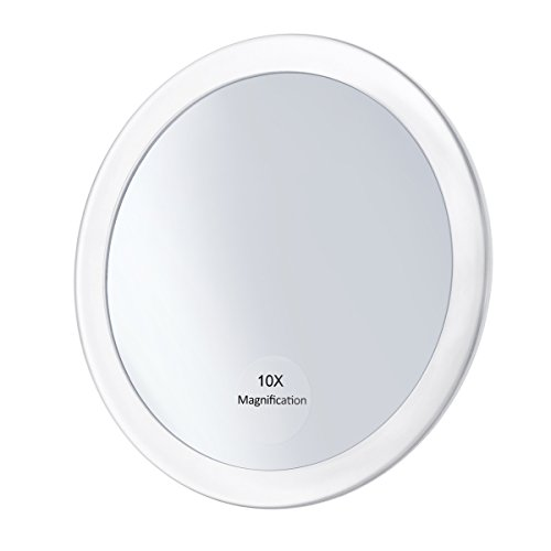 Frcolor Schminkspiegel – 10-fache Vergrößerung 15 cm runder Kosmetikspiegel mit 3 Saugnäpfen für Kosmetik Make-up (weiß)