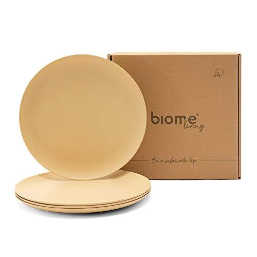 Biome Living Set de 4 platos lisos de bambú, sin BPA - Platos de bambú elegantes y ecológicos - Vajilla de bambú para adultos y niños cm. 25x25x1,8 h - Set de 4 piezas en color Avellana