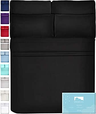 DreamCare 6 Piece Deep Pocket Sheets Microfiber Sheets Bed Sheets Bedding Sets King Size, Black