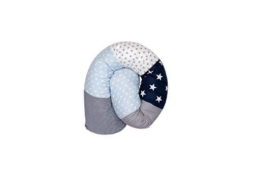 ULLENBOOM ® Baby Bettschlange 120x13 cm Blau Hellblau Grau (Made in EU) - Nestchenschlange für das Babybett, Bezug: 100% ÖkoTex Baumwolle, Bettrolle zur Bettumrandung im Kinderbett, Motiv: Sterne