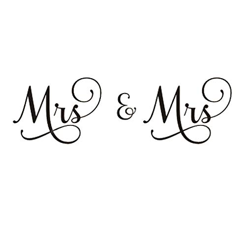 DNVEN 50 inches x 17 inches Lesbian Art Mrs and Mrs Husband and Wife Couples Headboard Bedroom Wall Decals Stickers Arts Decor Home Vinyl Lettering Sayings Quotes Romantic Wedding Anniversary