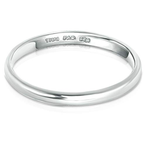 Sterling Silver Ring Plain Dome High Polished Wedding Band Ring 2mm Comfort Fit Size 5-9 (Silver, 5)
