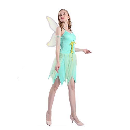 HYMZP Travestimenti Donna, Costume da Fata per Adulti con Fiori di Halloween Cosplay Gonna da Elfo Fantastica con Ali, Costume da Spettacolo di Elfi da Festa Rave