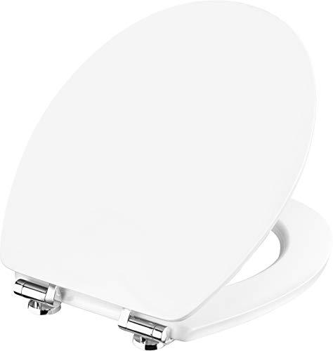 Cornat WC-Sitz Vale - Klassisch weißer Look - Hochwertiger Holzkern - Absenkautomatik & Schnellbefestigung - Komfortables Sitzgefühl / Toilettensitz / Klodeckel / KSVSC00
