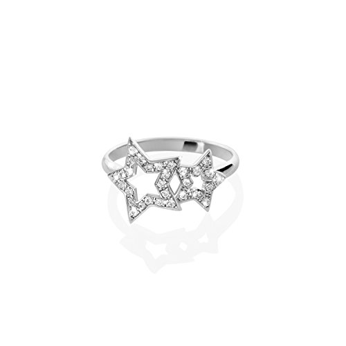 Dos estrellas con diamantes blancos, Estrella doble, Anillo de oro de 9K 14K 18K, Oro blanco, Diamantes naturales, Regalo para ella, Anillo para esposa/code: 0.002