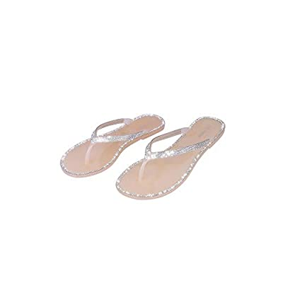 Cape Robbin Crystalholic Jelly Flips Flops Sandals for Women, Flat Slides Womens Mules Slip On Shoes - Clear Nude Size 6