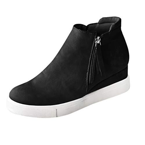 LANSKRLSP Sneakers Donna Zeppa Interna Pelle Alta Platform Scamosciato Stivaletti Tacco Mocassini Piatto Scarpe Eleganti Moda