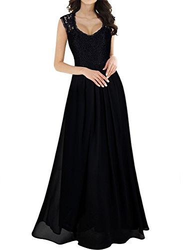 MIUSOL Damen Aermellos V-Ausschnitt Spitzenkleid Brautjungfer Cocktailkleid Chiffon Faltenrock Langes Kleid Schwarz S