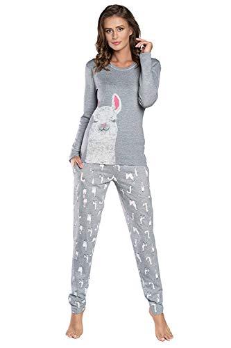 Damen Schlafanzug lang Pyjama Set   Nachtwäsche Hausanzug Langearm Zweiteiliger Sleepwear (M, Grau Peru)