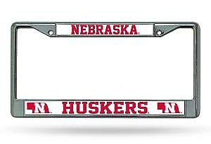 Bhartia Nebraska Huskers Chrome License Plate Frame Metal Tag Holder 12' X 6'