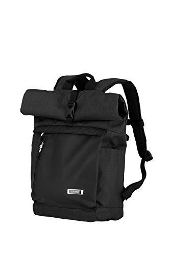 Travelite 60 cm Rollup Rucksack mit Laptop Fach bis 15,6 Zoll, Gepäck Serie PROOF: Weichgepäck Rucksack in frischen Kontrastfarben, 092310-01, 35 Liter, 0,8 kg, schwarz