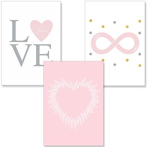 PREMYO Bilder Kinderzimmer Deko Mädchen - Poster Set Babyzimmer - Wandbilder Schlafzimmer Herz Federn Love Rosa A4