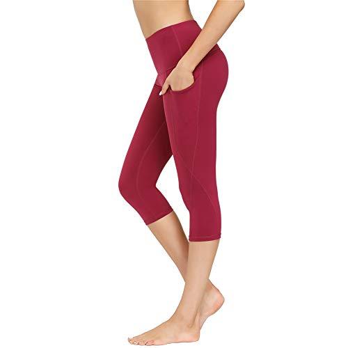 IceUnicorn Damen Sport Leggins Shorts Hohe Taille Tights 3/4 Yogahose Blickdichte Kurz Laufhos Fitness Hosen Jogginghose mit Taschen Short(3/4 W/Rot, S)