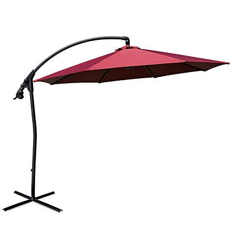 Paraguas compensado para patio de 10 pies, paraguas voladizo resistente, paraguas de mercado al aire libre, resistente a los rayos UV, 8 varillas, inclinación infinita, manivela y base cruzada