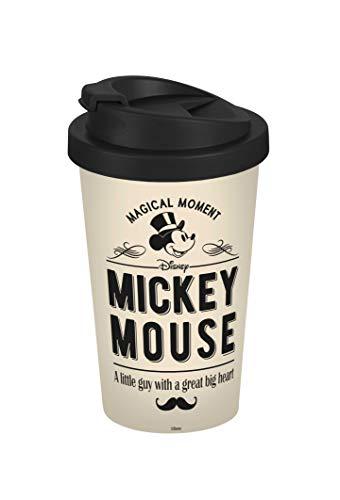 Disney Mickey Mouse 13760 Disney Mickey & Minnie Vintage Coffee to go Gobelet à Café Réutilisable Polypropylène Beige 400 ml