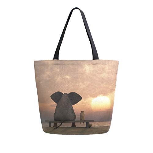 JinDoDo Canvas Bag African Animal Elephant Sunset Reusable Tote Bag Women Handbag for Shopping Travel Beach School