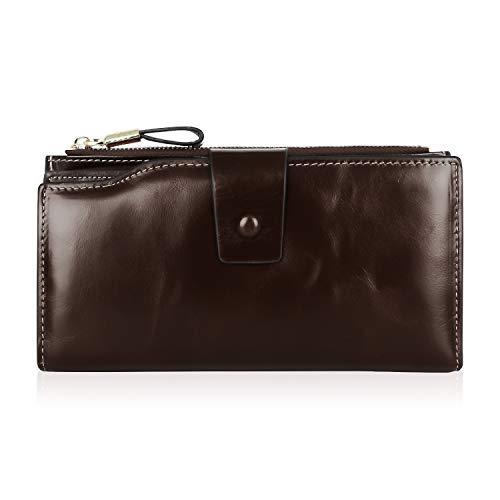 MINYUOCOM mannen/vrouwen lederen portemonnee, RFID blokkeren portemonnee Multi Card houder FMQB2083C