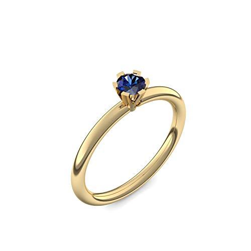 Goldring Saphir 750 + inkl. Luxusetui + Saphir Ring Gold Saphirring Gold (Gelbgold 750) - Celebrity Amoonic Schmuck Größe 52 (16.6) UW01 GG750SAFA52