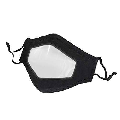 SHE.White--Kleid Baumwolle Mundschutz Unisex Mundschutz mit klarem Fenster Staubschutz Mundschutz mit Ohrbügel für Männer Frauen Outdoor-Aktivitäten