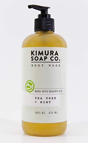 Kimura Soap Tea Tree Mint Body Wash Organic All Natural Moisturizing Body Wash Soap. American Made with Essential Oils. Gluten Free, Vegan, Cruelty Free, Travel Soap for Active Men and Women