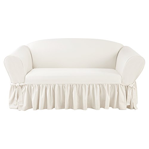 Sure Fit Essential Twill One Piece Ruffled Loveseat Slipcover with Scotchgard - White (SF46924)