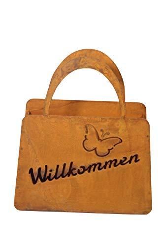 Bornhöft Tasche zum Bepflanzen Windlicht Beetdeko Metall Rost Gartendeko 27cm x 32cm Edelrost rostige Deko für den Garten (Willkommen Schmetterlin)